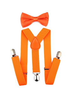 Bowtie Set color naranja- Adjustable Length 1 Inches Suspender with Bow Tie Set for Boys and Girls by AWAYTR - Socksn'Ties