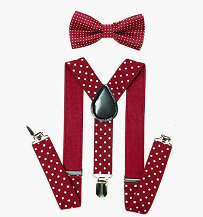 Bowtie Set color vino- Adjustable Length 1 Inches Suspender with Bow Tie Set for Boys and Girls by AWAYTR - Socksn'Ties
