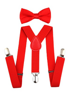 Bowtie Set de color rojo- Adjustable Length 1 Inches Suspender with Bow Tie Set for Boys and Girls by AWAYTR - Socksn'Ties