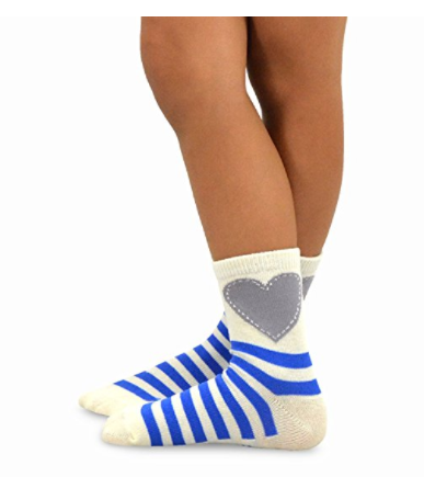 TeeHee azul-blanco Kids Girls Stripes Fashion Cotton Short Crew - Socksn'Ties