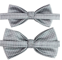 Matching gray Kids Men Bowties Pre Tied Bow Ties Set for Baby Boys and Daddy - Socksn'Ties