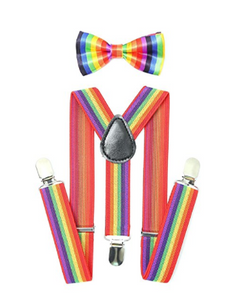 Bowtie Set multicolor- Adjustable Length 1 Inches Suspender with Bow Tie Set for Boys and Girls by AWAYTR - Socksn'Ties