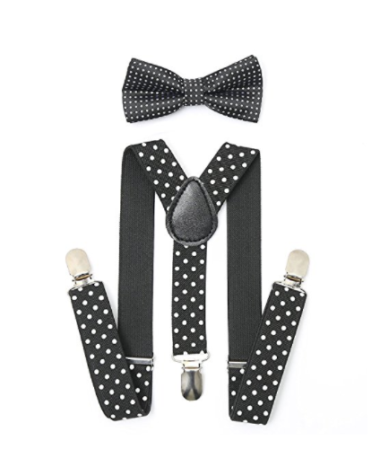 Bowtie Set color negro-blanco- Adjustable Length 1 Inches Suspender with Bow Tie Set for Boys and Girls by AWAYTR - Socksn'Ties