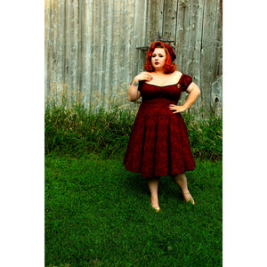 Molly Swing Dress - Dark Burgundy - Retro Peaches