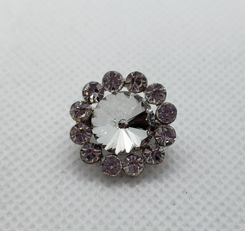 Rhinestone Button Brooch
