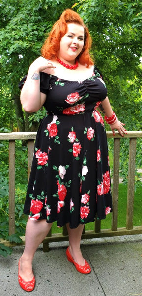 Molly Swing Dress - Roses - Retro Peaches