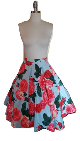 Ethel Skirt - Floral Blue - Retro Peaches