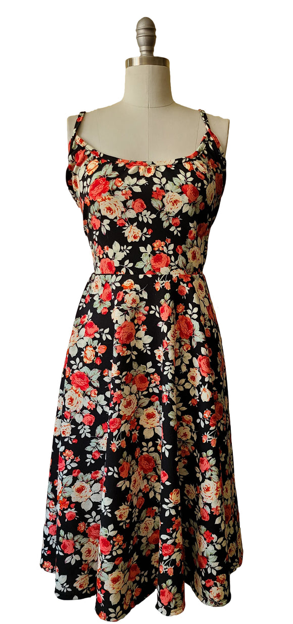 Beatrice Dress - Dark Floral Swing - Retro Peaches