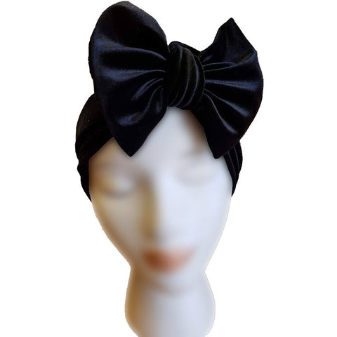 Velvet Bow Turban - Black - Retro Peaches