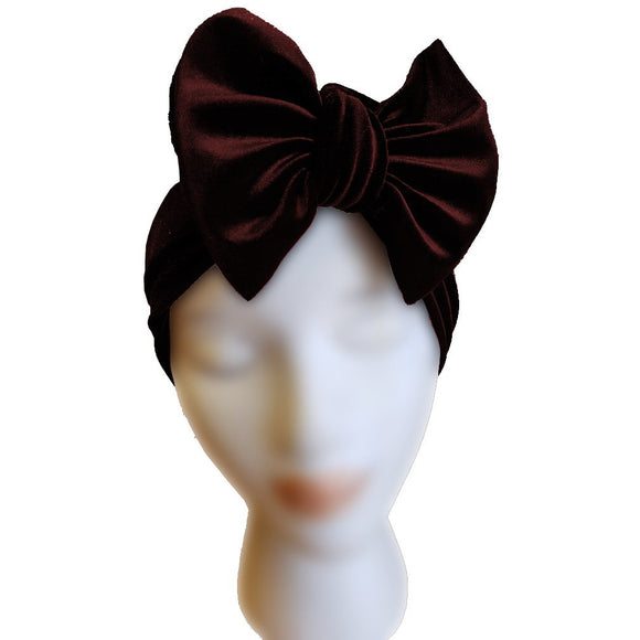 Velvet Bow Turban - Burgundy - Retro Peaches Vintage Dresses