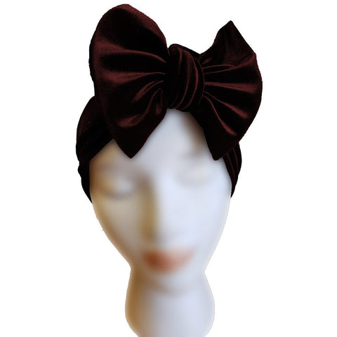 Velvet Bow Turban - Burgundy - Retro Peaches