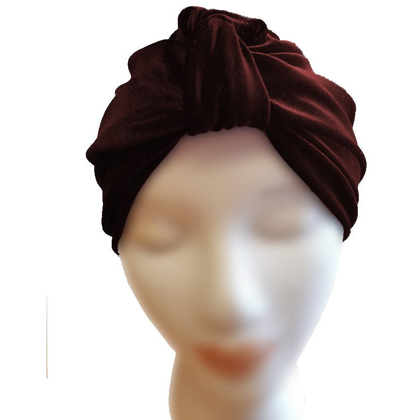 Velvet Turban - Burgundy - Retro Peaches