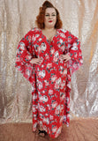 Carmen Caftan - Red Floral - Retro Peaches