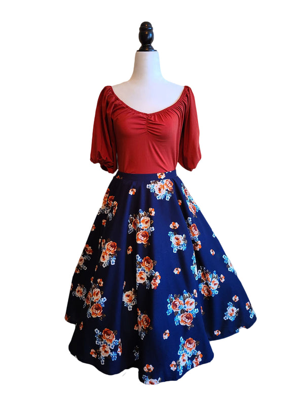 Ethel Skirt - Blue/Rust - Retro Peaches