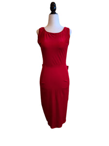 Evelyn Wiggle Dress - Red Velvet - Retro Peaches