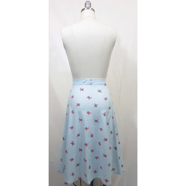 Natasha Skirt - Gingham & Roses Print - Retro Peaches