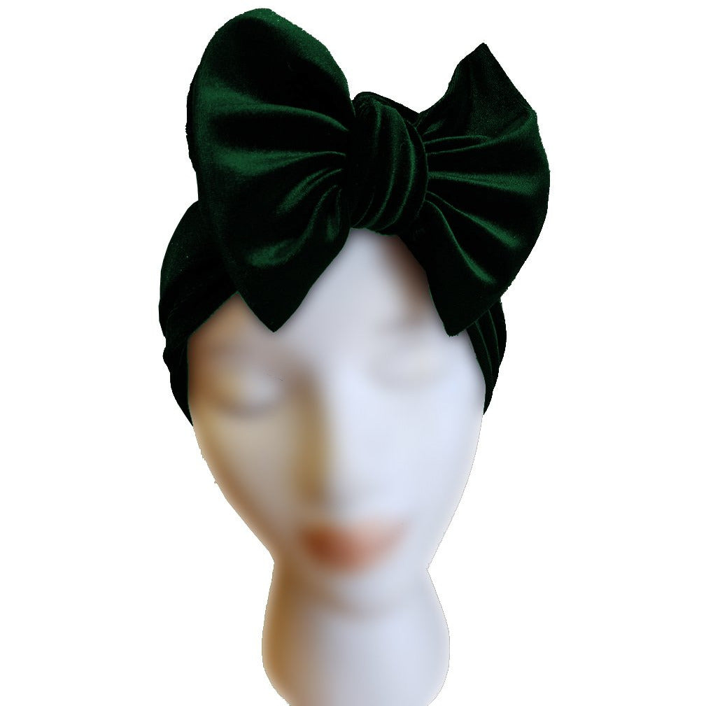Velvet Bow Turban - Emerald - Retro Peaches