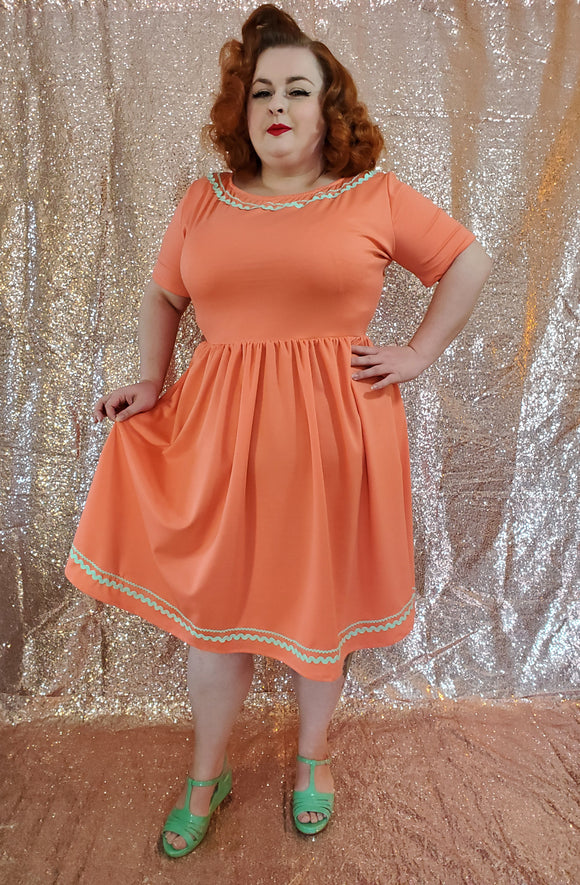 June Dress - Coral - Retro Peaches