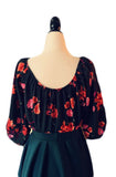 Mid Sleeve Molly Top - Hunter Green Floral - Retro Peaches