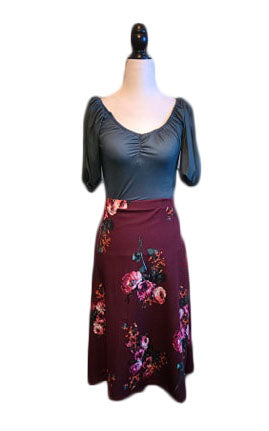 Natasha Skirt - Burgundy Floral - Retro Peaches