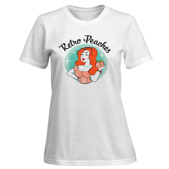 Retro Peaches Logo T Shirt - White - Retro Peaches Vintage Dresses