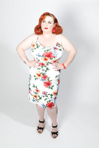 Beatrice Dress - Floral Wiggle - Retro Peaches