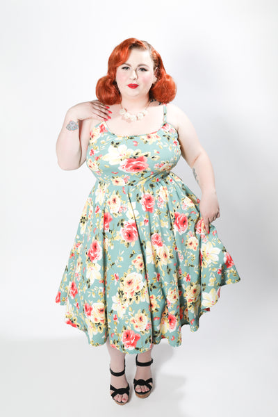 Beatrice Dress - Floral Swing - Retro Peaches