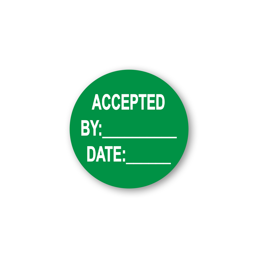 "Accepted by Date Write in Shipping Industrial Labels - 2""x2"" Roll of 500"