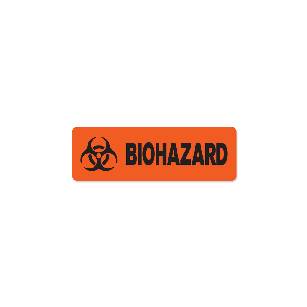 "Biohazard Industrial Labels - 3""x1"" Roll of 500"