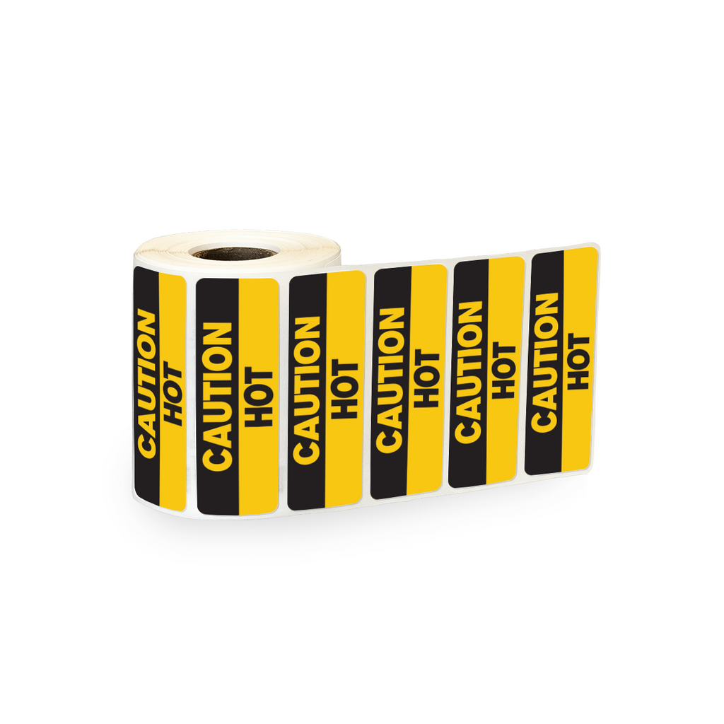 "Caution Hot Industrial Labels - 3""x1"" Roll of 500"
