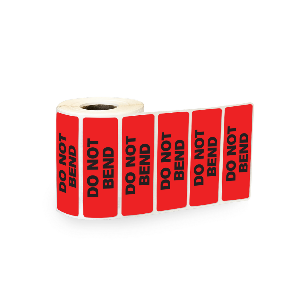 "Do Not Bend Industrial Labels - 3""x1"" Roll of 500"