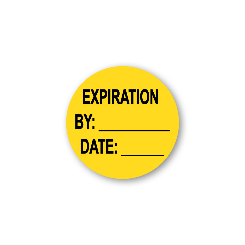 "Expiration by Date Write in Industrial Labels - 2""x2"" Roll of 500"
