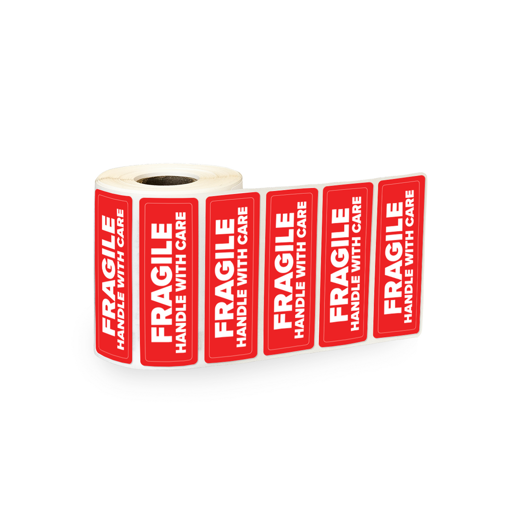 "Fragile Handle with Care Industrial Labels - 3""x1"" Roll of 500"