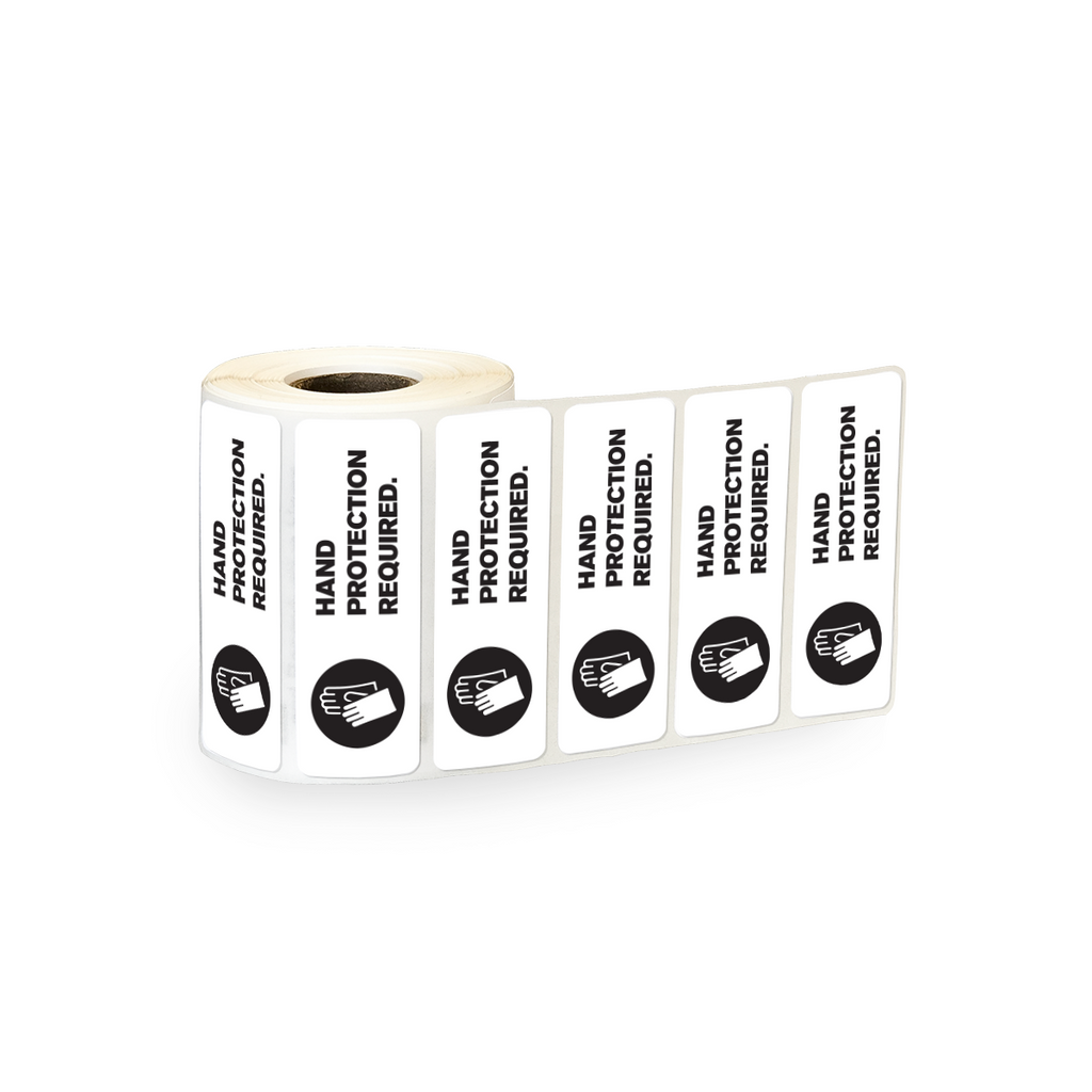 "Hand Protection Required Industrial Labels - 3""x1"" Roll of 500"
