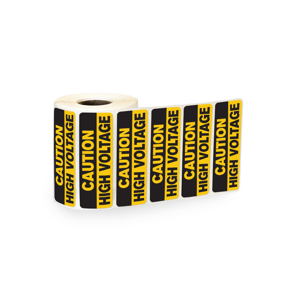 "Caution High Voltage Industrial Labels - 3""x1"" Roll of 500"
