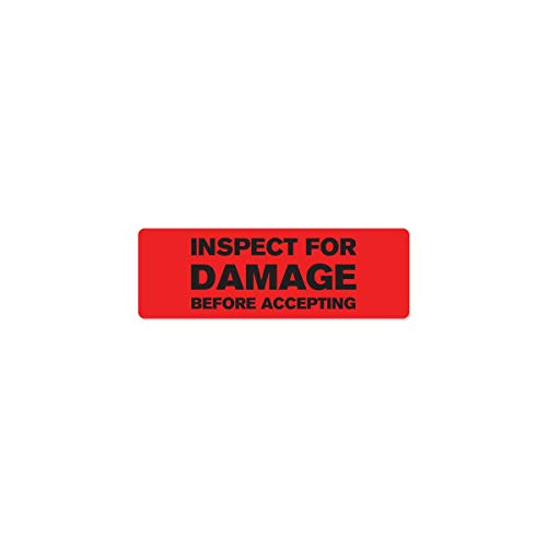 "Inspect for Damage Industrial Labels - 3""x1"" Roll of 500"