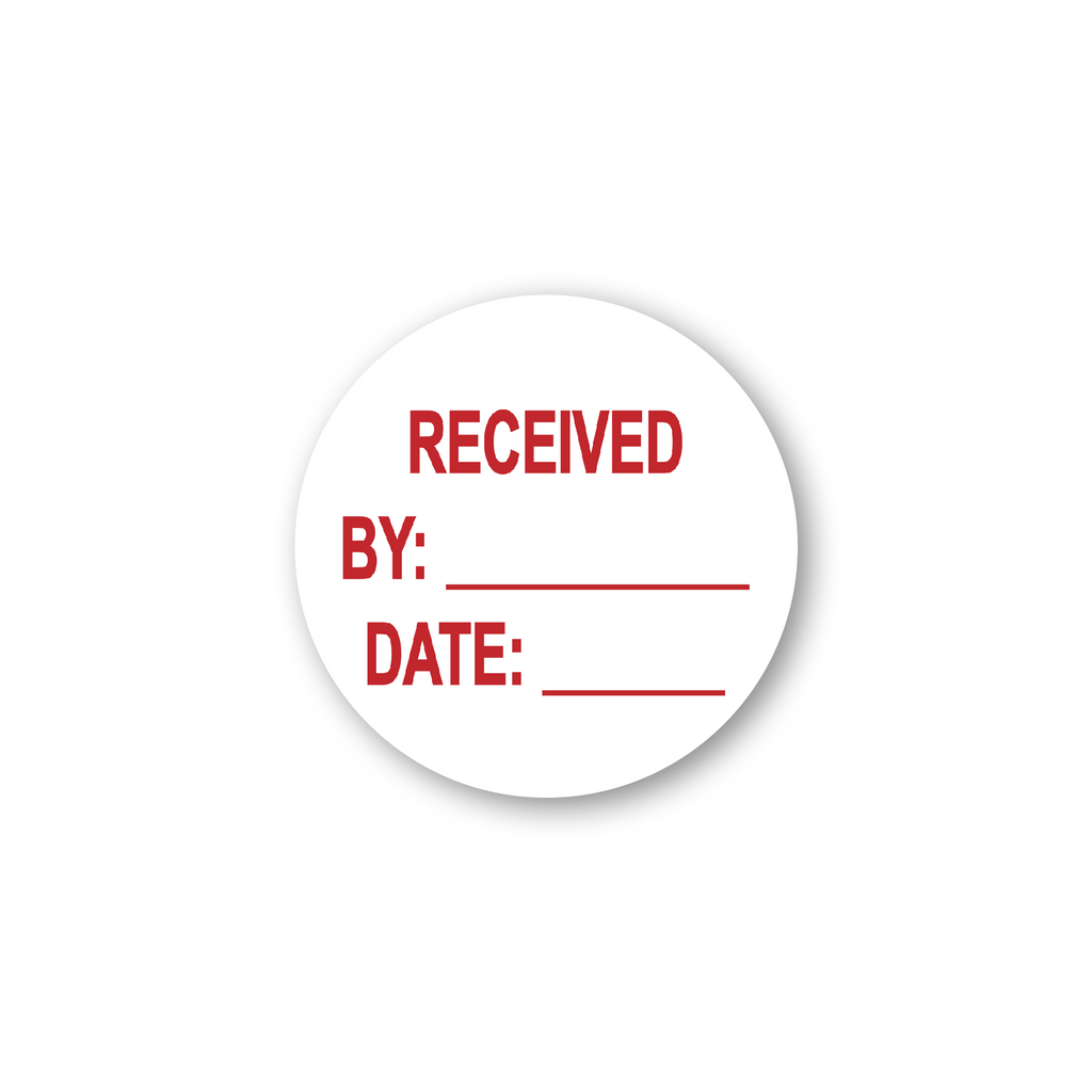 "Received by Date Write On Industrial Labels - 2""x2"" Roll of 500"