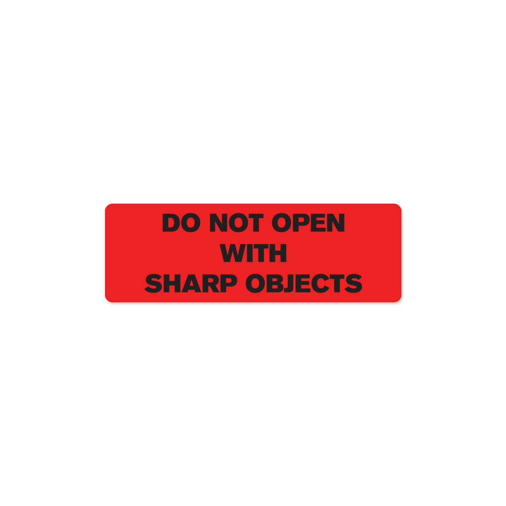 "Do Not Open with Sharp Objects Industrial Labels - 3""x1"" Roll of 500"
