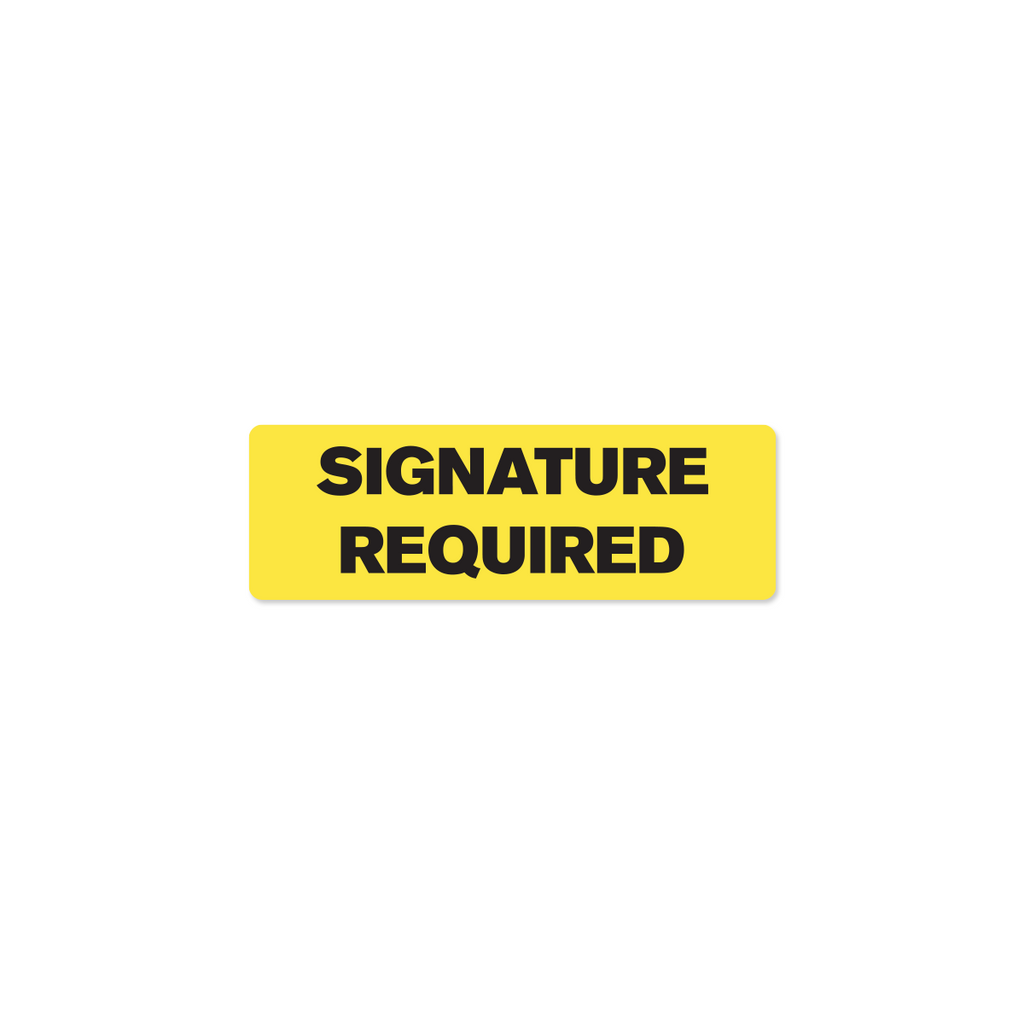 "Signature Required Industrial Labels - 3""x1"" Roll of 500"