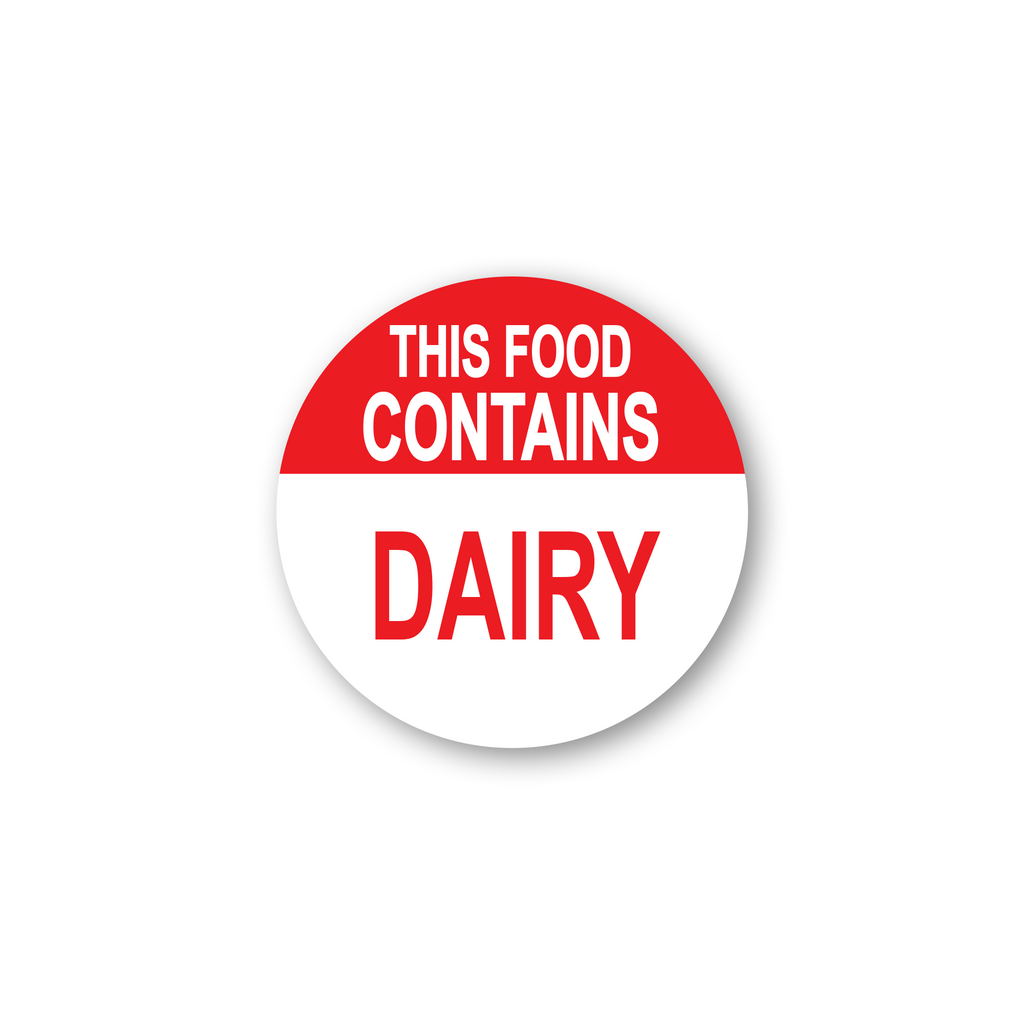 "This Food Contains Dairy Industrial Labels - 2""x2"" Roll of 500"