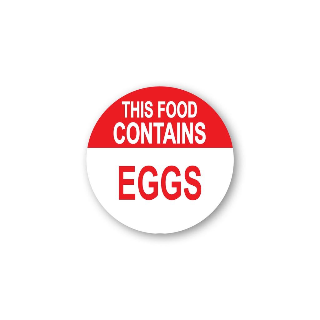 "This Food Contains Eggs Industrial Labels - 2""x2"" Roll of 500"