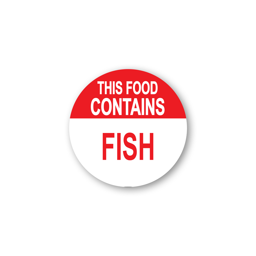 "This Food Contains Fish Industrial Labels - 2""x2"" Roll of 500"
