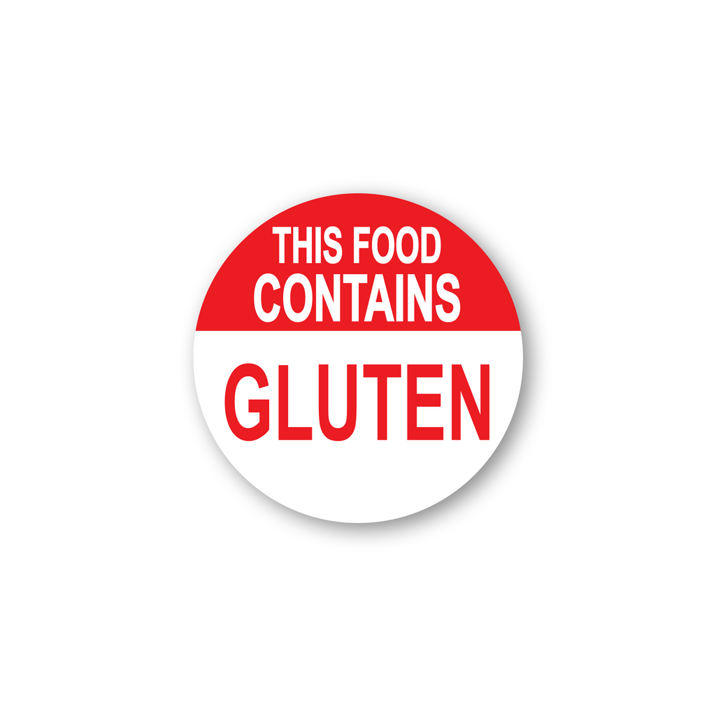 "This Food Contains Gluten Industrial Labels - 2""x2"" Roll of 500"