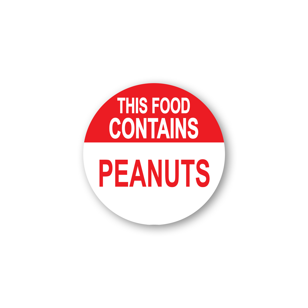 "This Food Contains Peanuts Industrial Labels - 2""x2"" Roll of 500"
