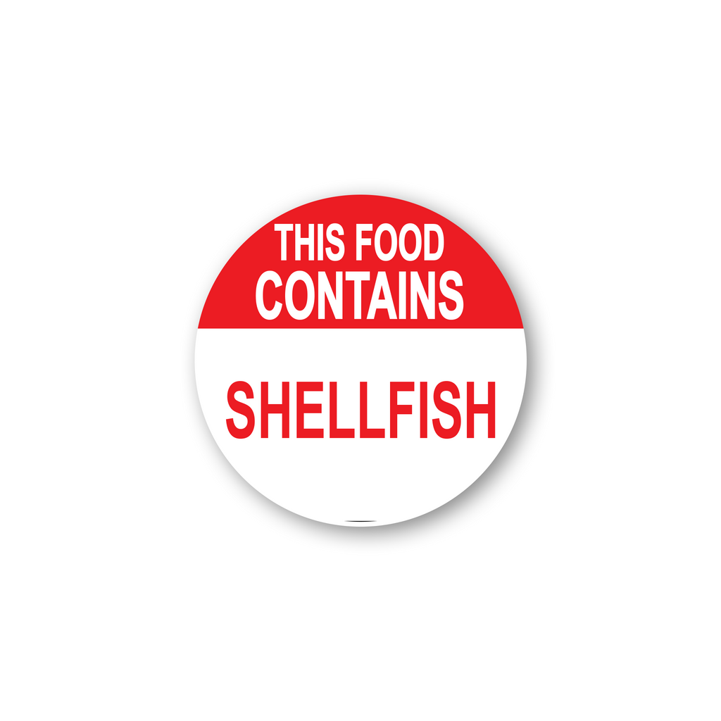 "This Food Contains Shellfish Industrial Labels - 2""x2"" Roll of 500"