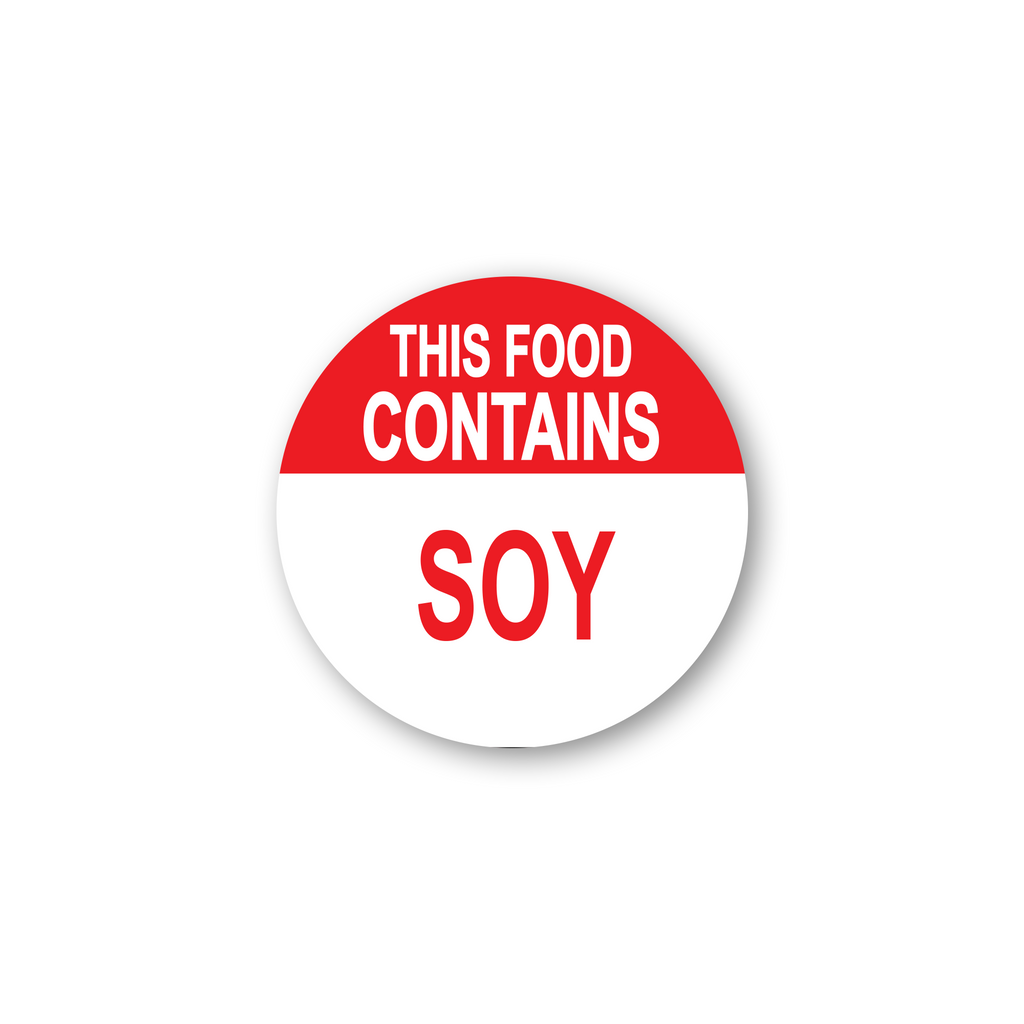"This Food Contains Soy Industrial Labels - 2""x2"" Roll of 500"