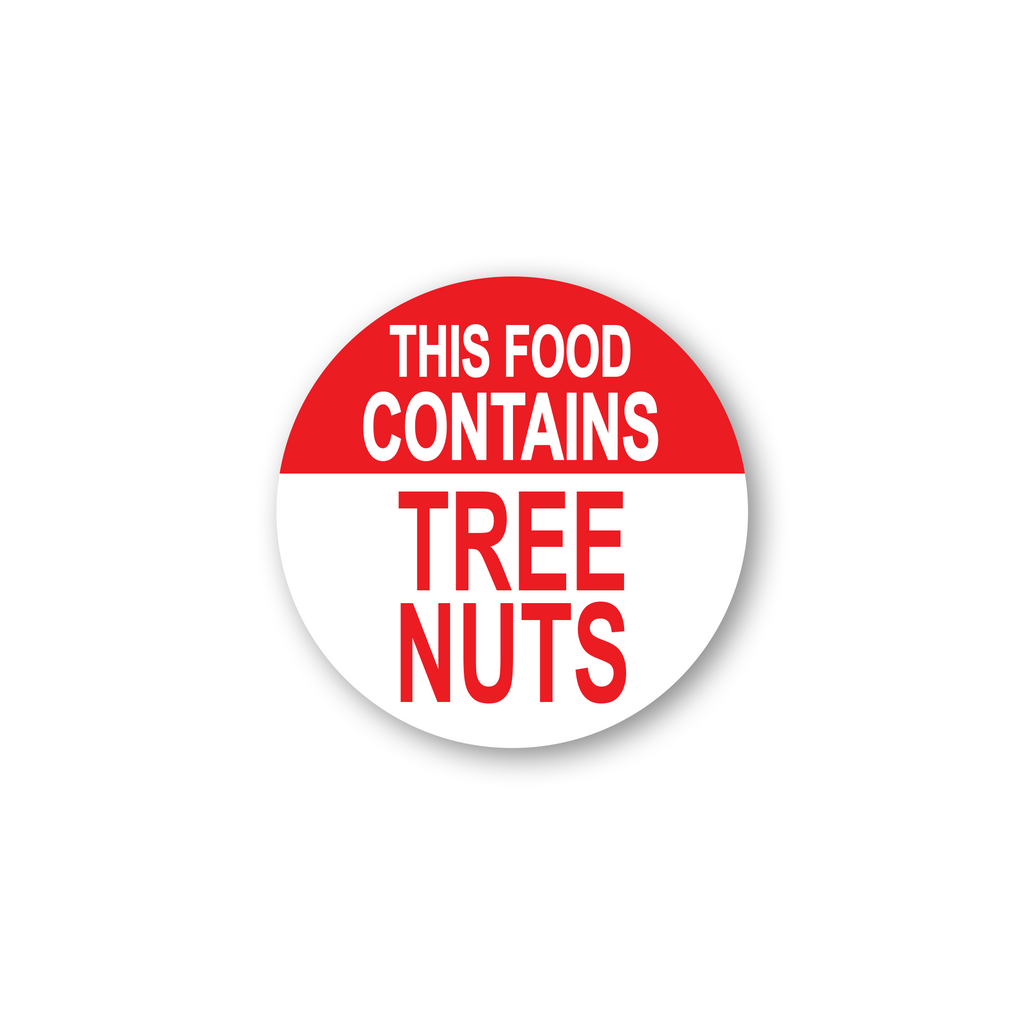 "This Food Contains Tree Nuts Industrial Labels - 2""x2"" Roll of 500"