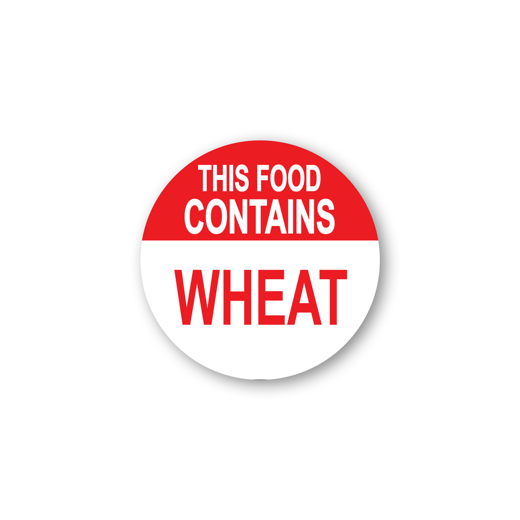 "This Food Contains Wheat Industrial Labels - 2""x2"" Roll of 500"