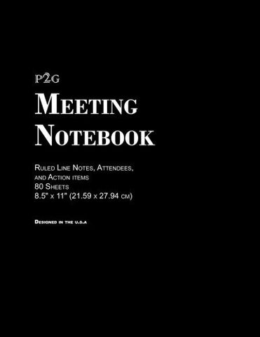 "Meeting Notebook: Ruled Line Notes, Attendees, and Action items, 8.5"" x 11"" (21.59 x 27.94 cm), 80 Sheets,Durable Soft Cover, Designed in the USA"