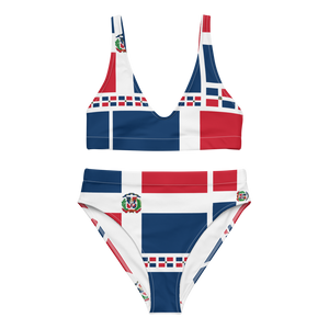 Dominican Republic Flag All-Over Collage High-Waisted Bikini  - 2020 - DominicanGirlfriend.com - Frases Dominicanas - República Dominicana Lifestyle Graphic T-Shirts Streetwear & Accessories - New York - Bronx - Washington Heights - Miami - Florida - Boca Chica - USA - Dominican Clothing